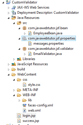 JSF Custom Validation Example in Eclipse
