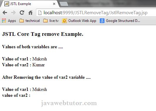 JSTL Core <c:remove> Tag   Java Web Tutor