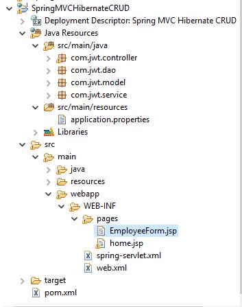 CRUD Example using Spring MVC